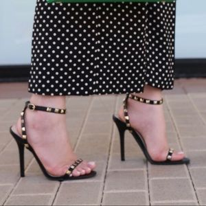 Shoe Dazzle Shoes - Black High Heel Strappy Sandals with studs